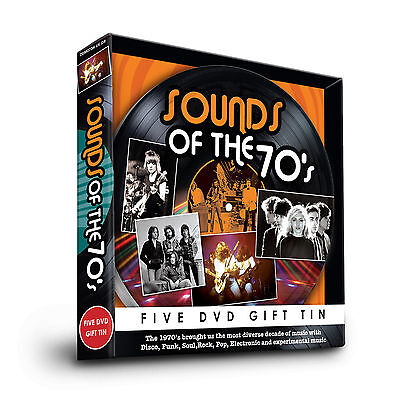 SOUNDS OF THE 70s - FIVE DVD GIFT TIN STATUS QUO T REX 10CC DAVID CASSIDY & MORE