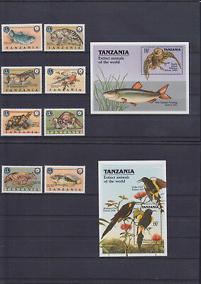 054722 Vögel Birds ... Tanzania 634-41 + Block 107/08 ** MNH Year 1990