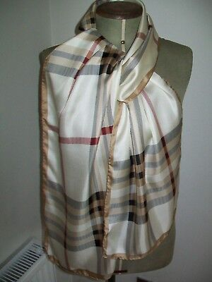 Lord & Taylor. Very Smart Classic Check Design Vintage Silk Scarf