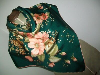 Pierre Balmain. Beautiful 1950's Botanical Print Design Vintage Silk Scarf
