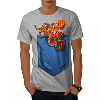Wellcoda Octopus Pocket Mens T-shirt, Sea Animal Graphic Design Printed Tee