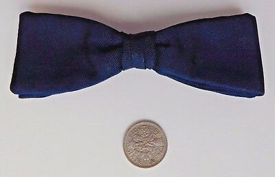 Navy blue Tenax bow tie vintage English made 1960s clip on pre-tied imperfect