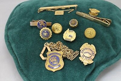 NY Oyster Bay Fire Co 1, 20 Year Pin & Other NYPD Lapel Pins, Tie Clips, Buttons