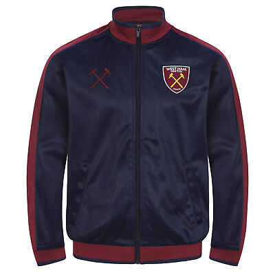 West Ham United FC Official Football Gift Boys Kids Retro Track Top Jacket
