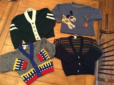 4 Piece Lot Vintage retro mid century Boy Toddler Sweater cardigan 3/4T