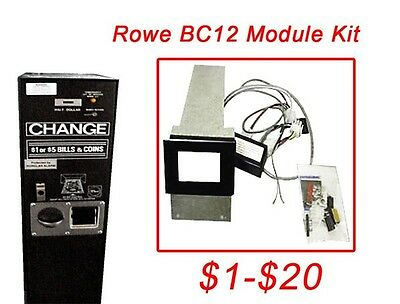 Rowe BC12 $1-$20 Dollar Bill Changer Update Kit to install a Mars MEI acceptor
