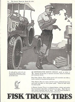 1919 Fisk Truck Tires U.S. Mailman Delivery Ad