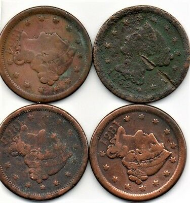 Four U.S. Braided Hair Large Cent Group from the 1850's! Great Starter Set!