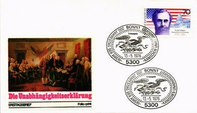 Dr Jim Stamps Bicentennial American Independence Fdc Folio Print Germany Cover