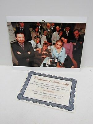"""Signed 8"""" x 10"""" Colour Photo of Ricky Gervais and The Office Cast & COA - CLE P1"""