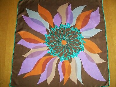 Striking Large Botanical Print Design Vintage Silk Scarf