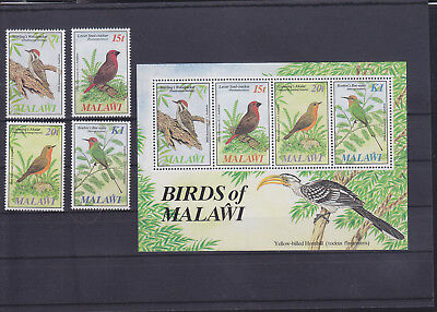054775 Vögel Birds Malawi 453-56 + Block 65 ** MNH Year 1985