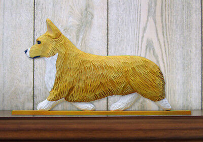 Welsh Corgi Pembroke Dog Figurine Sign Plaque Display Wall Decoration Blonde