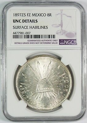 1897-Zs Mexico 8 Reales Silver Coin NGC UNC Details #1