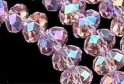 New 6x8mm 70-72pcs pink AB Crystal Faceted Clear Loose Beads
