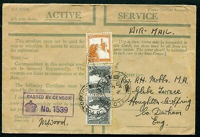 Palestine 1940 5m & 10m x2 on Active Service envelope FPO191 to England censored