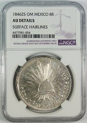 1846-Zs Mexico 8 Reales Silver Coin NGC AU Details