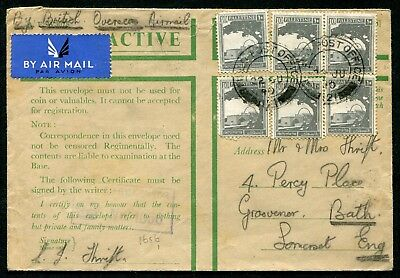 Palestine 1940 10m x6 on Active Service envelope FPO121 to England: censored
