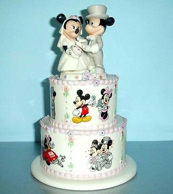 Lenox Disney Mickey Minnie's Wedding Day Wishes Atop Tiered Wedding Cake New
