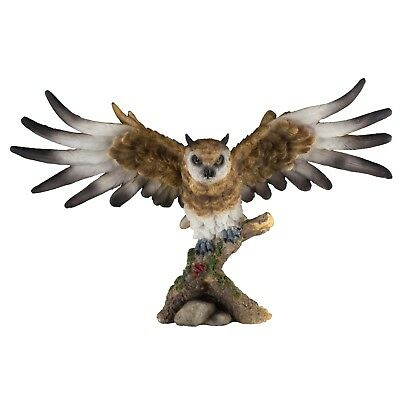 "Horned Owl Figurine With Wings Spread 15"" Wide Highly Detailed Resin New In Box!"