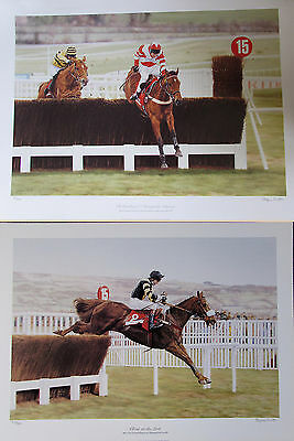 """2x Stephen Smith 22""""x16"""" Signed LIMITED EDITION HORSE RACING JUMP PICTURES"""
