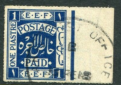 Palestine 1918 (10 Feb.) 1pi deep blue SG 1a fine used (cat. £100) expertised