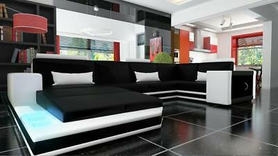 wohnlandschaft xxl big sofa ledersofa couch ecksofa bar beleuchtung braun beige eur. Black Bedroom Furniture Sets. Home Design Ideas