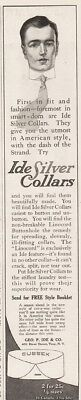 1913 Ide Silver Collars First In Fit & Fashion Troy NY Sussex Print Art Ad