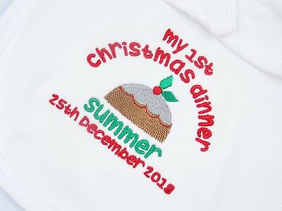 Personalised Embroidered MY FIRST 1ST CHRISTMAS DINNER PUDDING BABY BIB VEST