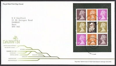 2009  Charles Darwin  Booklet Pane  - Cancel As Scan    Fdc   (4324)