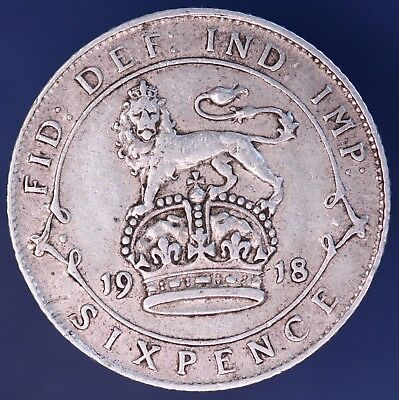 1918 George V Sixpence 6d NICE coin, 92.5% silver  *[10866]