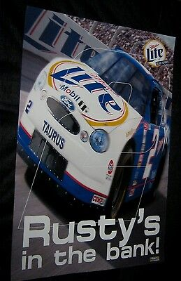 Original 1999 NASCAR RUSTY WALLACE MILLER LITE BEER Poster FREE SHIPPING #1