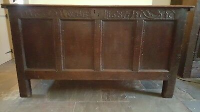 Antique coffer 17th Century carved oak coffer dated 1687 James II antique chest