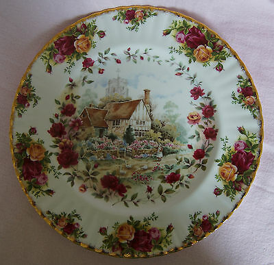 Royal Albert Old Country Roses Cottage Bone China Plate Birds Geese Church Flowe