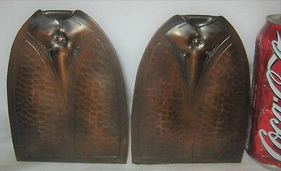 Antique Arts Crafts Roycroft Ny Usa Hammered Mission Book Desk Copper Bookends