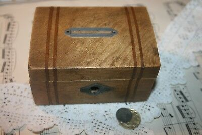 Vintage Solid Wood Inlaid Money Box Wooden Hinged Lid Cash Savings Antique