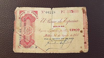 B-D-M España Spain Civil War Bilbao 5 pesetas 1936 Pick s551a BC- G
