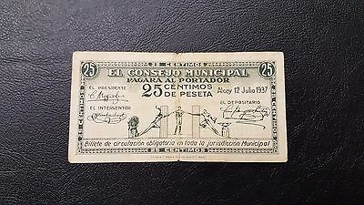 B-D-M España billete local Alcoy 25 céntimos 1937 BC+ F+