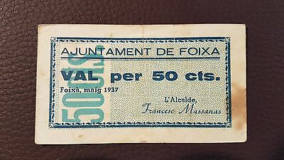 B-D-M España billete local Foixá 50 céntimos 1937 MBC- aVF