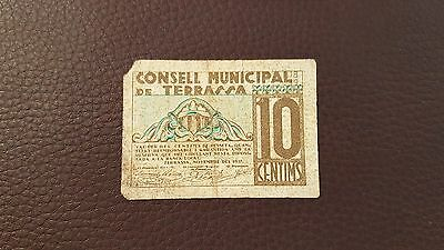 B-D-M España billete local Terrassa 10 céntimos 1937 BC F