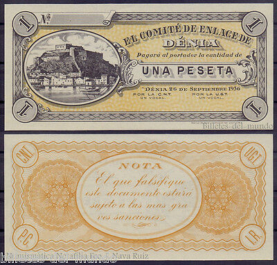 B-D-M Billete Local Denia 1 Peseta 26.7.1936 Sc Unc