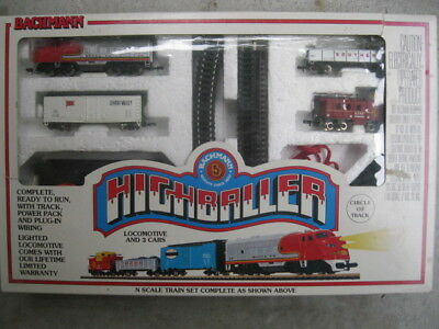 Vintage Bachmann High Baller N Scale Train Set Complete W/box Santa Fe Locomotiv