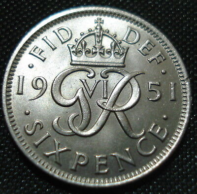 Excellent High Grade 1951 George Vi Sixpence Proof-Like
