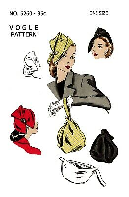 Hat  & Bag Vintage Vogue Millinery Fabric material sewing pattern # 5260