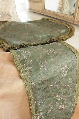 Italian 17th century silk damask silver thread Cope Cape textile green