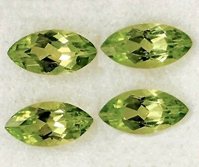 4 Pcs LOT OF 8x4mm MARQUISE CUT NATURAL EARTH MINED PERIDOT GEMSTONE