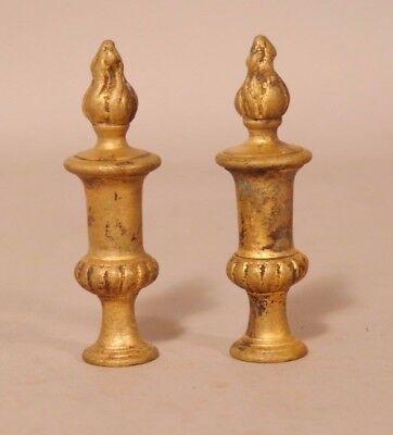 Antique Pair Of Heavy Cast Bronze Urn With Flame Top Lamp Finials