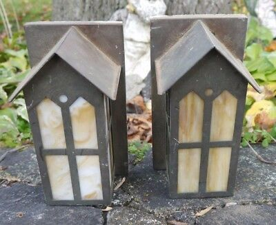Pair Antique Copper ARTS & CRAFTS Style Outdoor Wall Sconces Nice Design