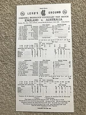 England v Australia 1980 - Lord's Centenary Test Match Printed Final Scorecard