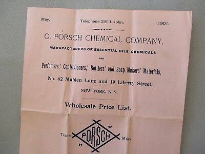 1901 Maker of Perfume Bottle's/Prices,types,brands,Porsch Company N.Y. document!
